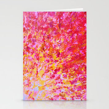 ROMANTIC DAYS - Lovely Sweet Romance, Valentine's Day Sweetheart Pink Red Abstract Acrylic Painting Stationery Cards by EbiEmporium   Society6